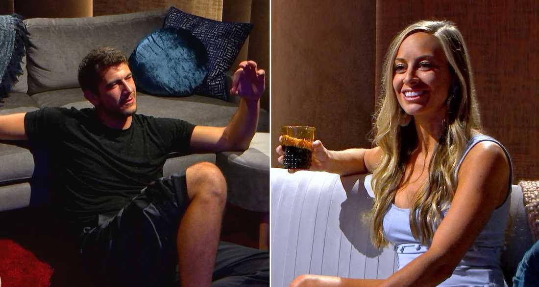 Dejtar utan att se varandra. Matt Barnett och Jessica Batten sitter i varsitt rum, skilda av en tunn vägg.