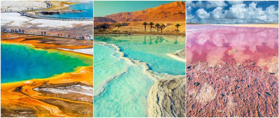 Det finns många färgglada sjöar runt jorden.