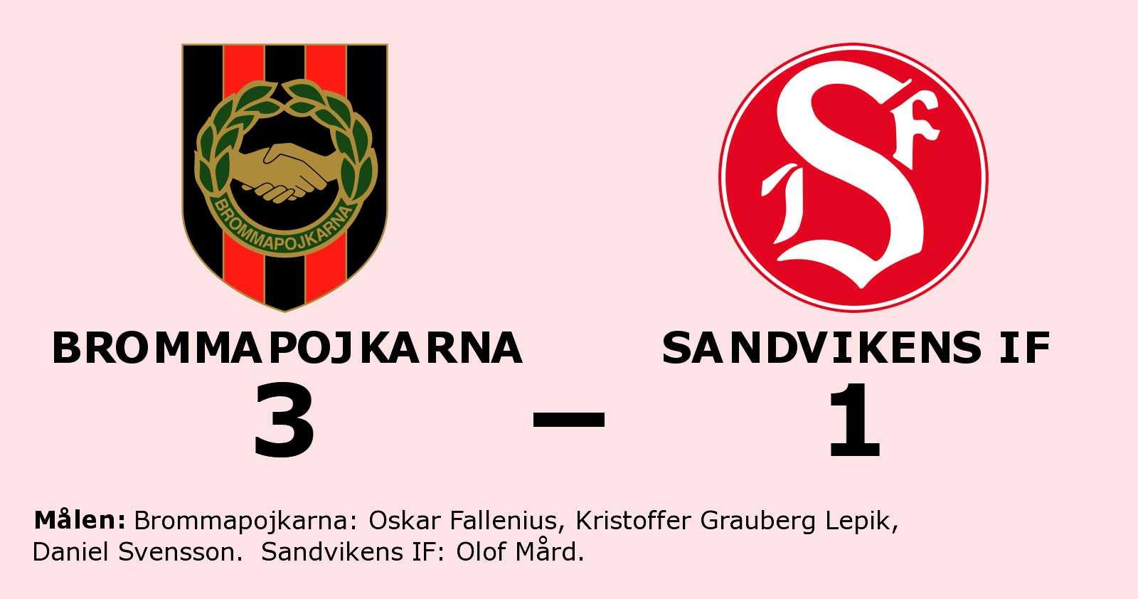 Seger för Brommapojkarna efter tuff match mot Sandvikens IF