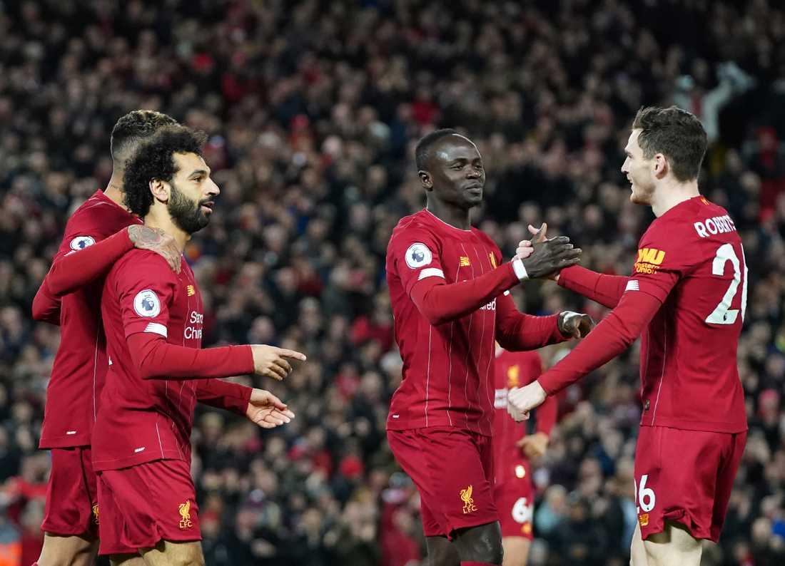 Liverpool jublar efter att Mohamed Salah gett laget ledningen mot Sheffield United.