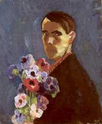 """Nils Nilsson """"Självporträtt med anemoner"""", 1933."""