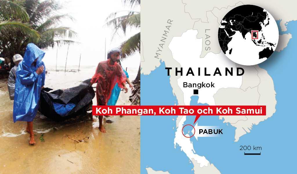 Pabuk väntas nå Koh Phangan, Koh Tao och Koh Samui under fredagskvällen.