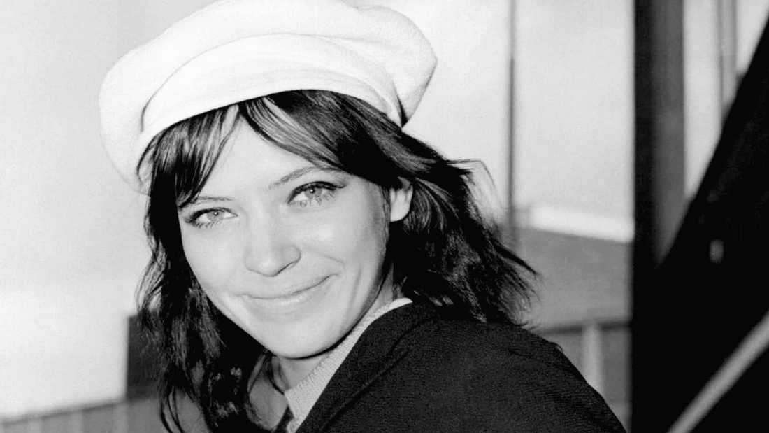 Anna Karina på Heathrow i London 1967.