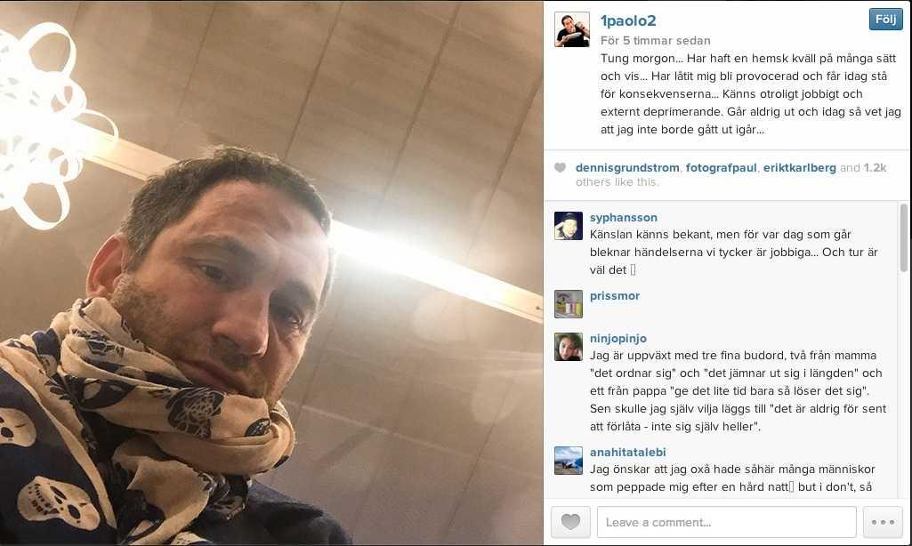 Skärmdump från Paolo Robertos instagramkonto.