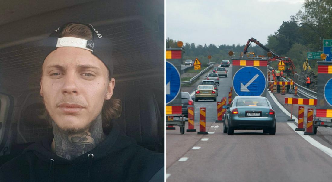 Anton blev attackerad av bilist som inte respekterade vägarbetet. Bilden till höger har inget med händelsen att göra.
