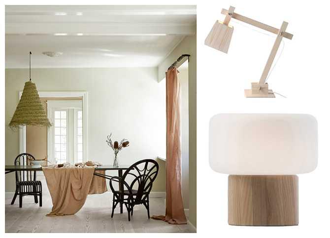 Naturligt ljust - fr v: Lampskärm av vävda palmblad, ca 1200 kr, Tine K home. Bordslampa Wood, 1295 kr, Muuto. Bordslampa Oscar, 1700 kr, Watt & veke.