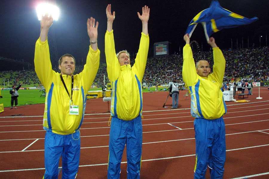 EM I MÜNCHEN 2002 Tre blågula medaljörer: Staffan Strand, brons i höjd, Christian Olsson, guld i tresteg, och Stefan Holm, silver i höjd.