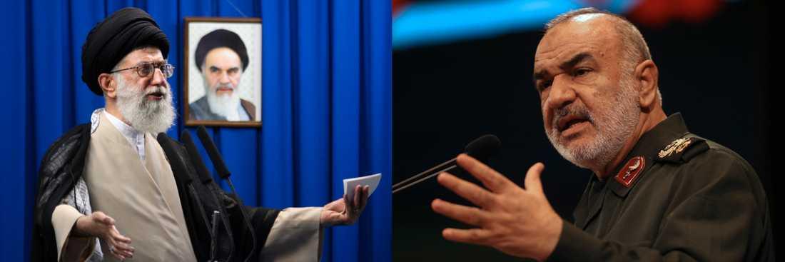 Irans högste ledare Ali Khamenei och av EU sanktionsdrabbade general Hossein Salami (till höger). Montage/Arkivbild.