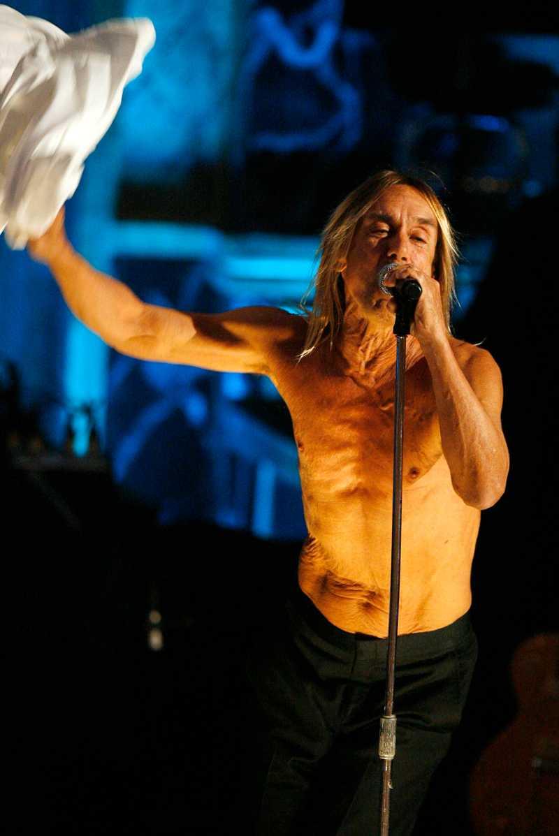 Iggy Pop pekade finger åt publiken, och slet av sig skjortan.