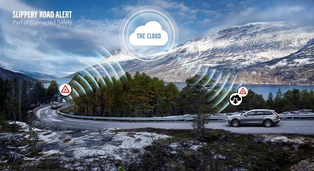 ... och skickar upp informationen till molnet. Som sedan fördelar ut den till alla andra 90-bilar i området.