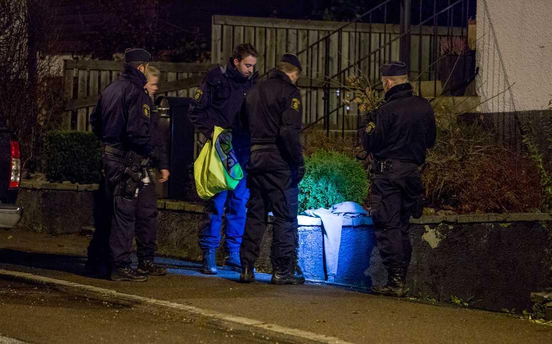 Polisen vid platsen där Anna hittades.
