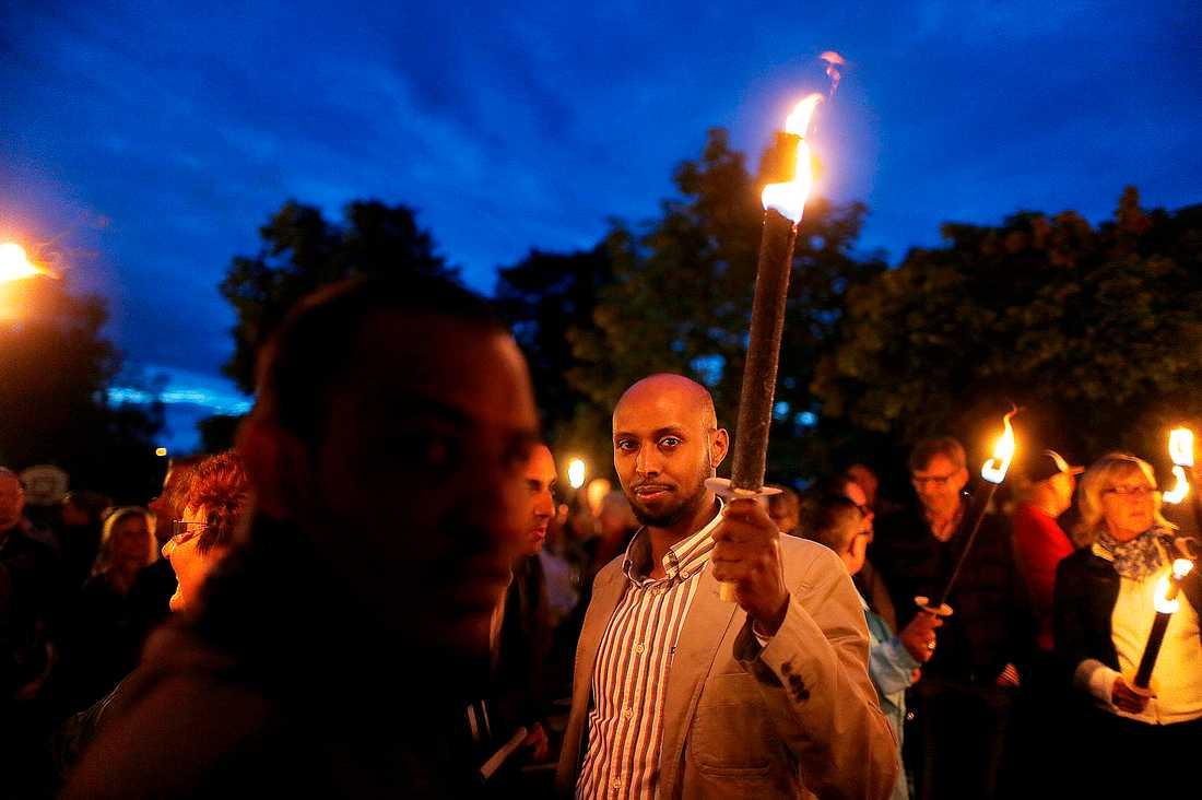 Yassin Ekdahl, psykolog och centerpartist, hade åkt upp från Skåne för att vara med i manifestationen.