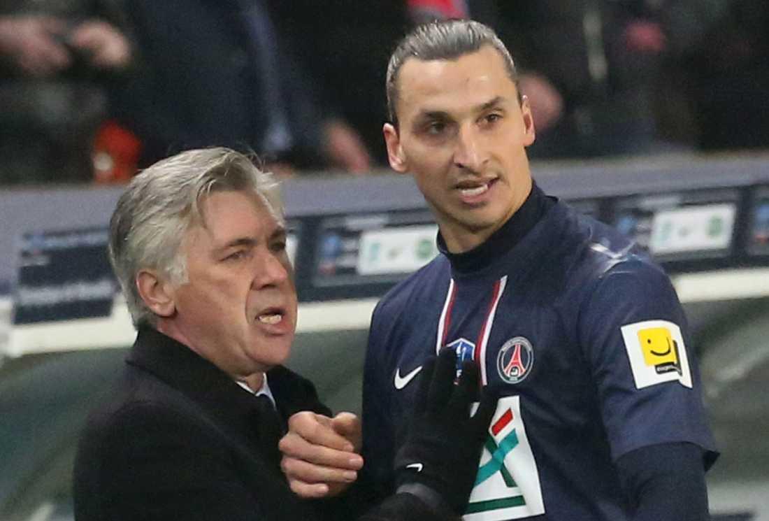 Carlo Ancelotti och Zlatan Ibrahimovic.