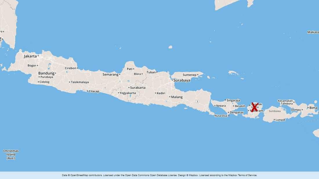 Karta över Indonesien, Bali markerat med ett kryss