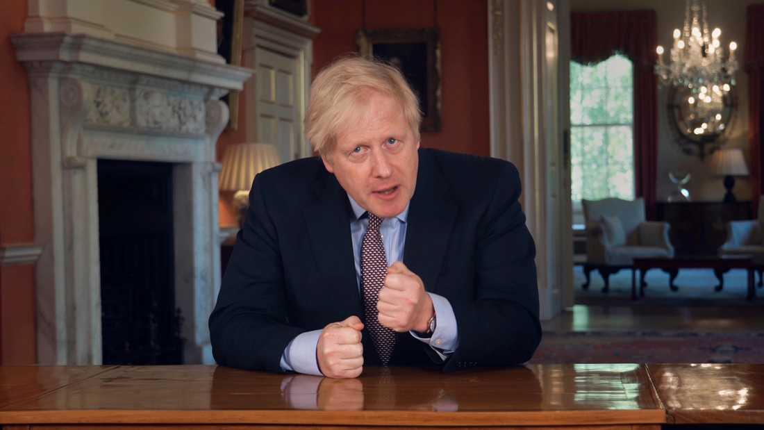 Storbritanniens premiärminister Boris Johnson under sitt tv-tal till nationen i söndags.