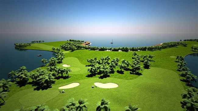 Den flytande 18-håls golfbanan kommer att kräva flera öar, med 2-3 hål på varje.
