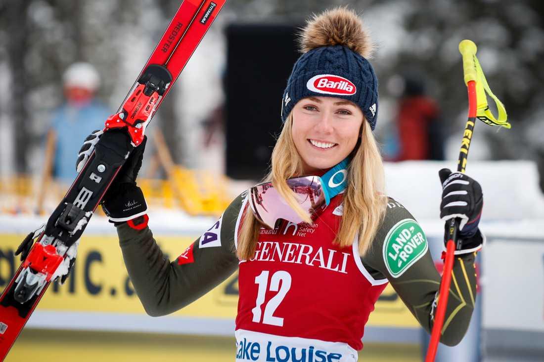 Mikaela Shiffrin efter sin andraplats i störtloppet i Lake Louise i lördags.