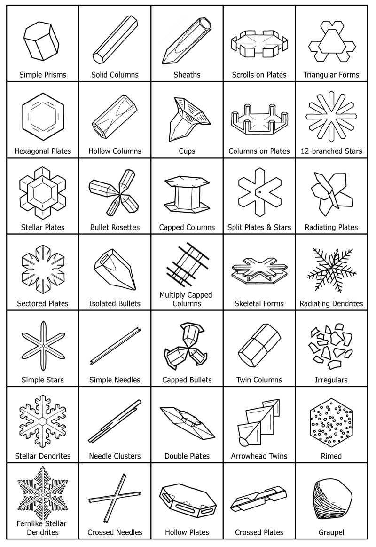 Olika typer av snöflingor (Klicka för större bild)