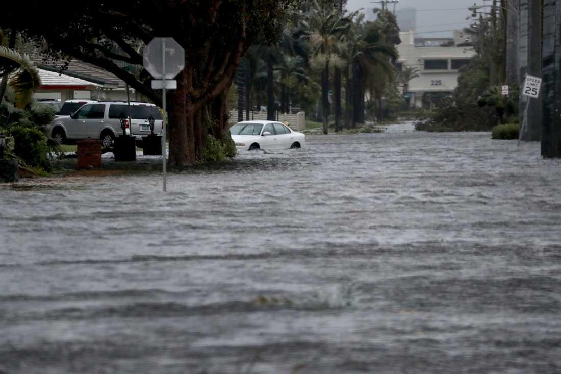 Översvämmade gator i stormen Irmas spår.