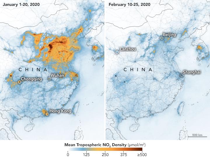 Halterna av den giftiga gasen kvävedioxid sjönk kraftigt i Kina i början av coronapandemin.