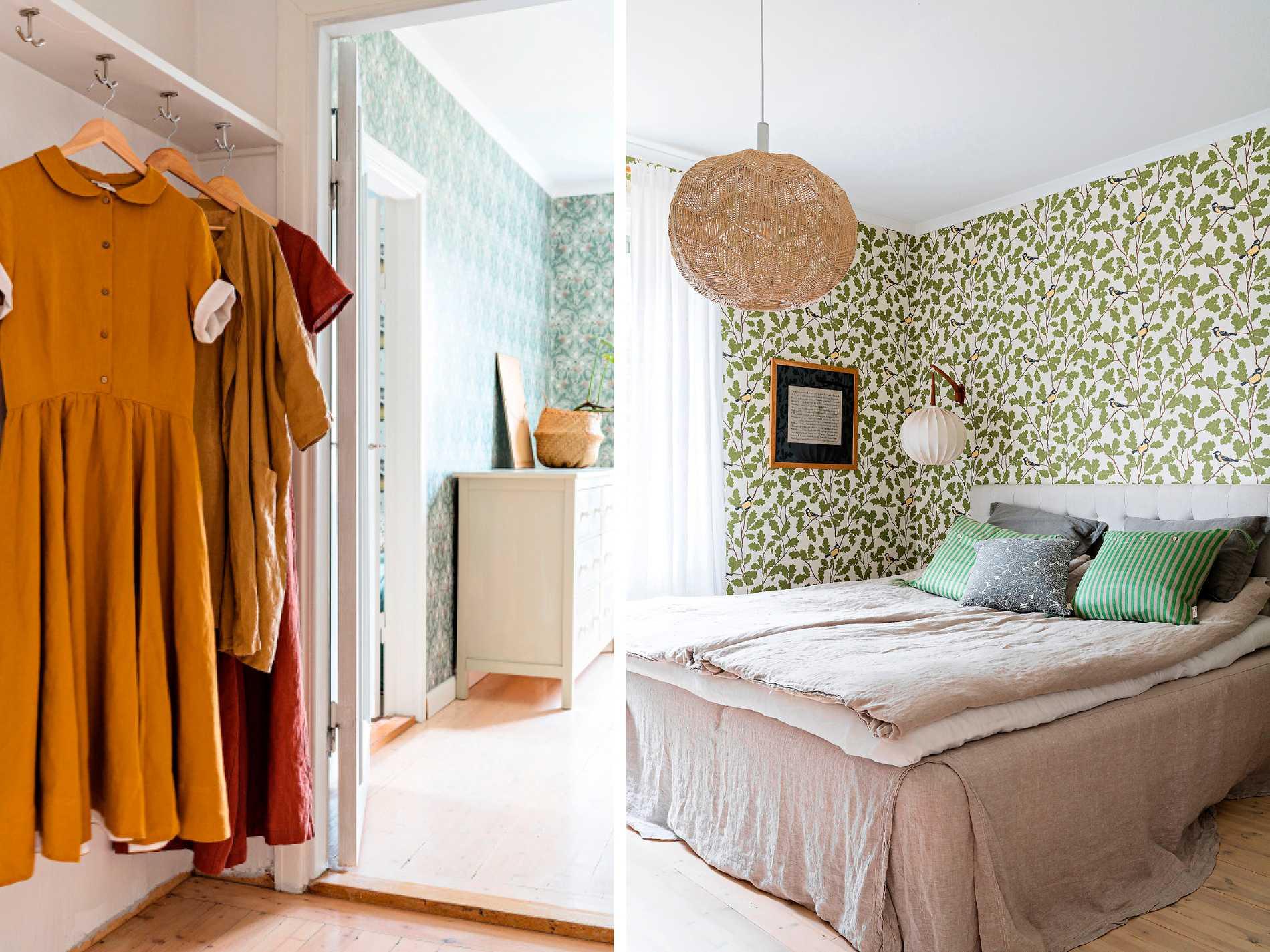 Gästrummets  mönstrade tapeter  är från Boråstapeter,  sängkläder från Lin living  och kuddar från Ellos.