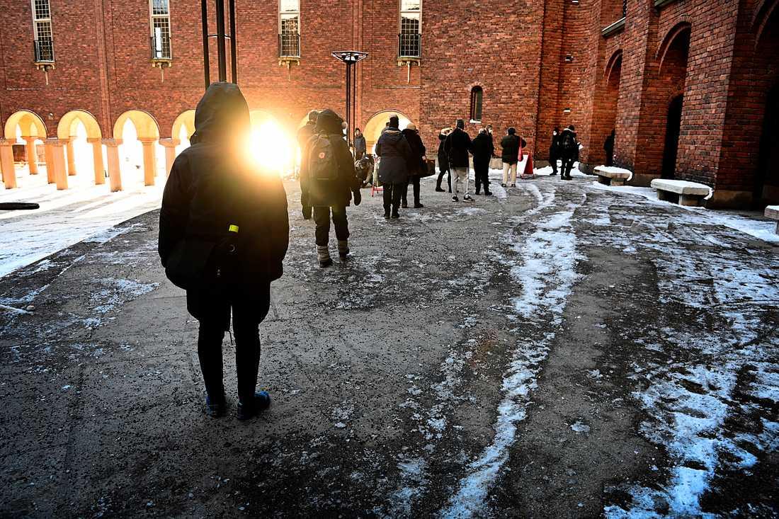 Vaccinkö till Stockholms stadshus tidigare under året.