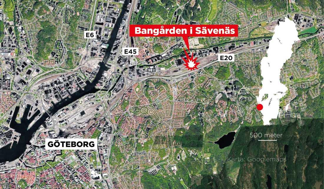 Olyckan hände på Sävenäs rangerbangård i östra Göteborg.