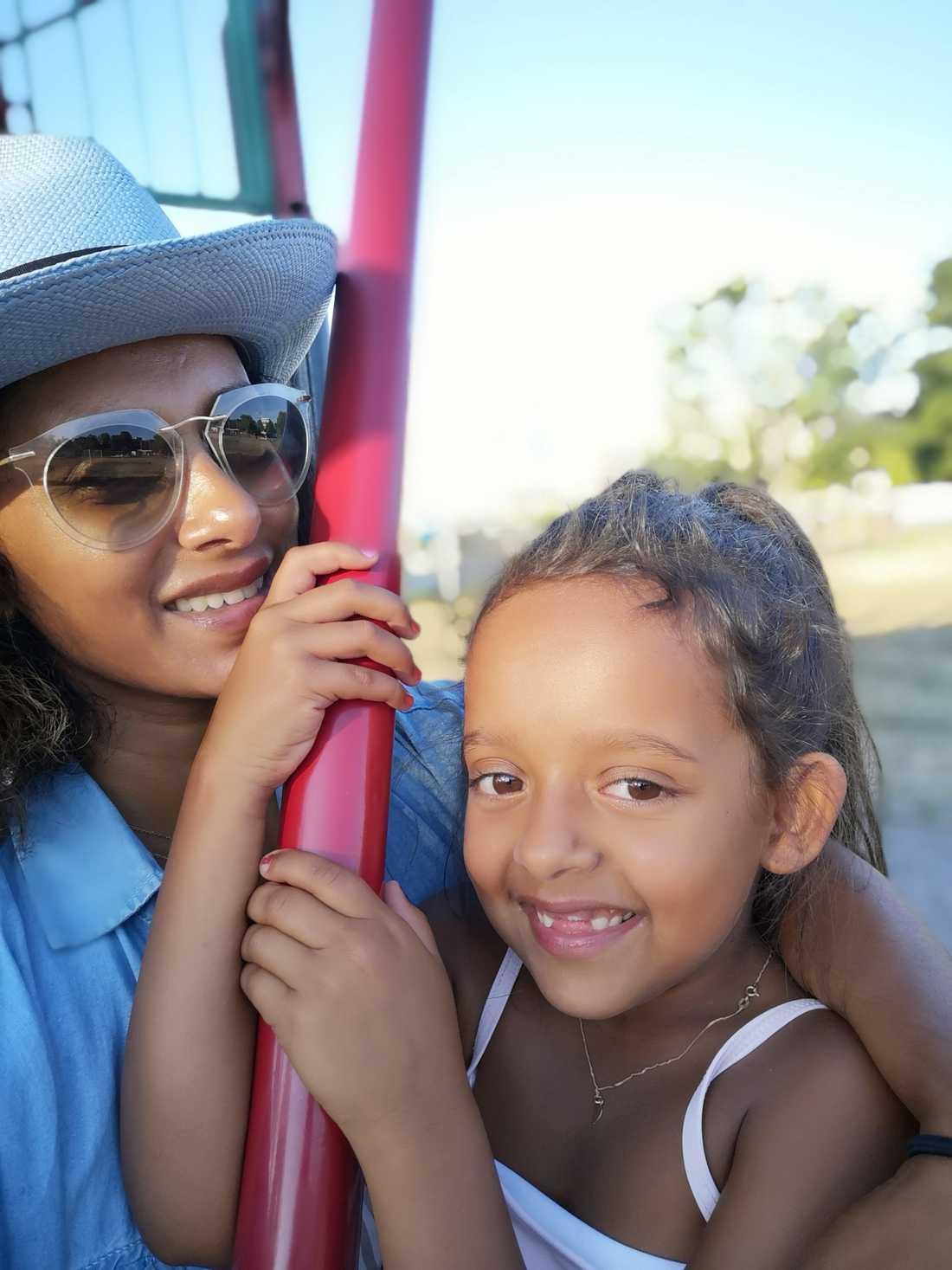 Anitha Schulman och dottern Penny.