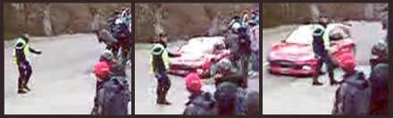 tillbud Sebastian Loeb var mycket nära en olycka med en polisman under rallyt i Monte Carlo.
