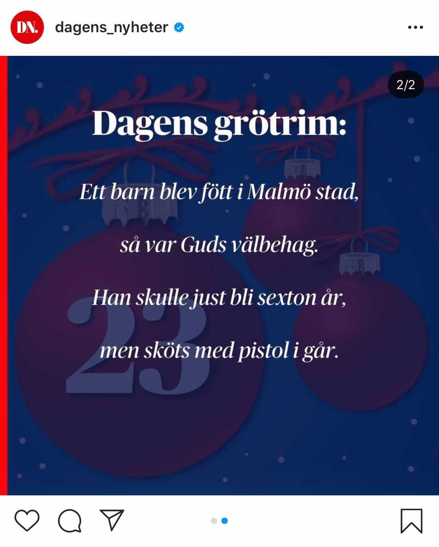 Dagens Nyheters grötrim från den 23 december fick stark kritik.