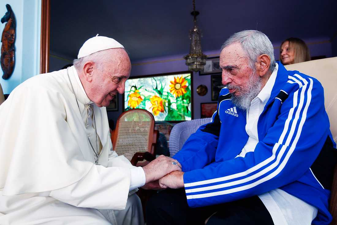 Påve Franciskus träffar Fidel Castro i Havanna i september 2015.