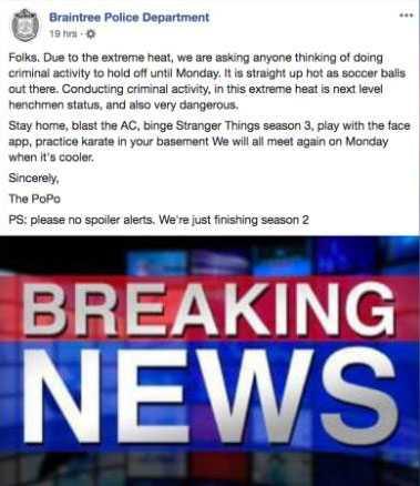 Braintree Police Departments inlägg på Facebook.