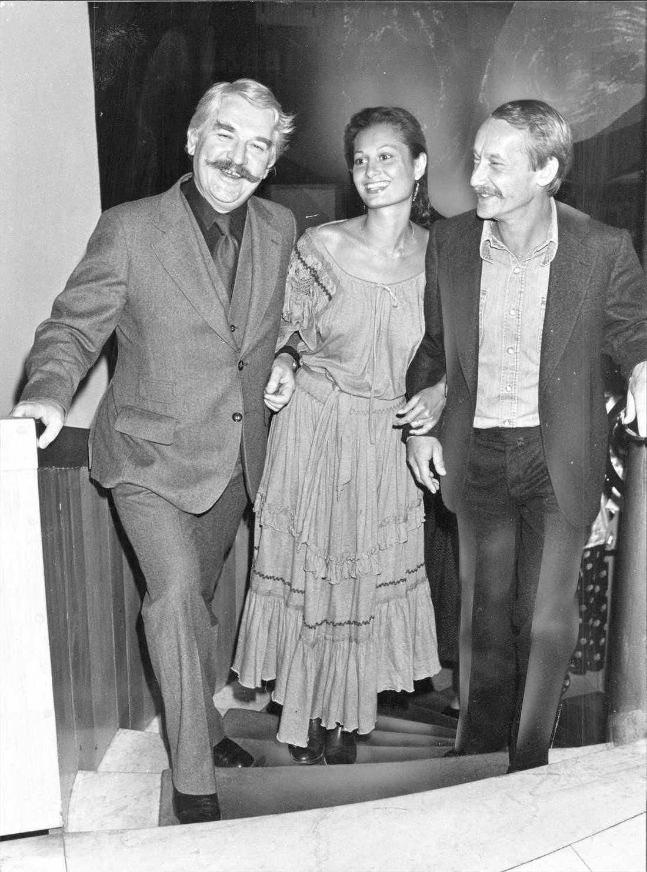 Hasse Alfredsson, Gösta Ekman och Gösta Ekmans maka Pia anläder till Guldbaggegalan 1978.
