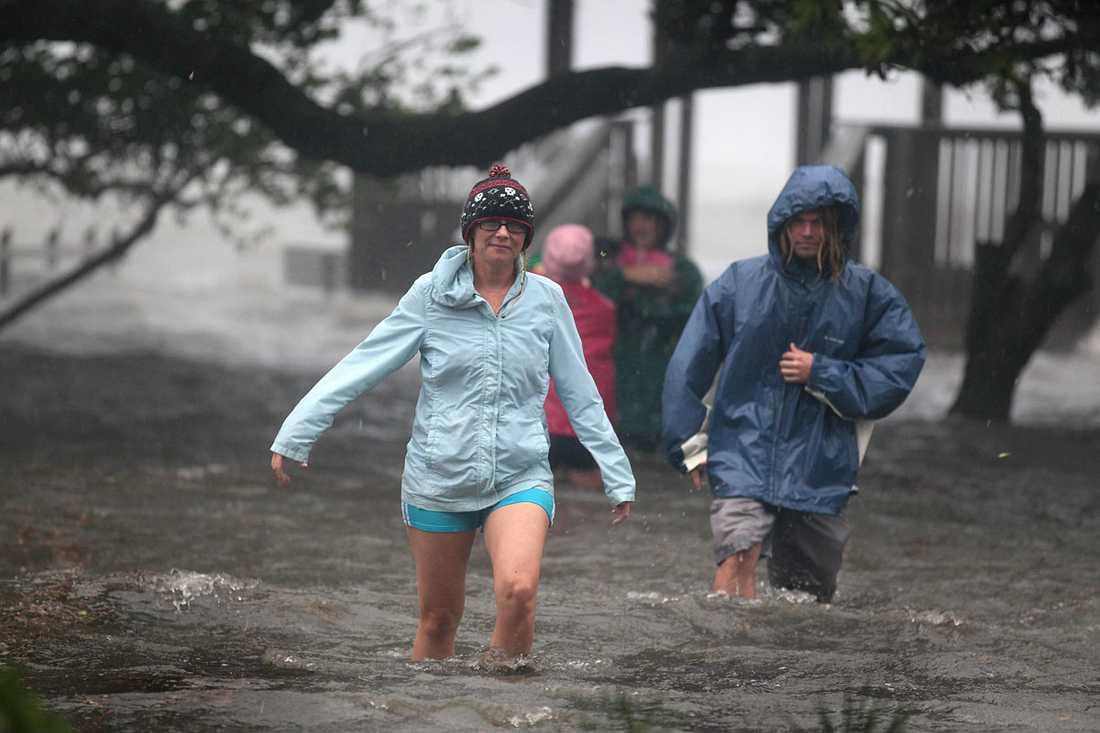 Kill Devil Hills, North Carolina: Boende vadar genom  vattenmassorna.