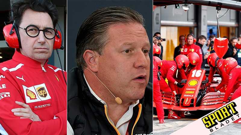 Ferraris teamchef Mattia Binotto och McLarens VD Zak Brown.