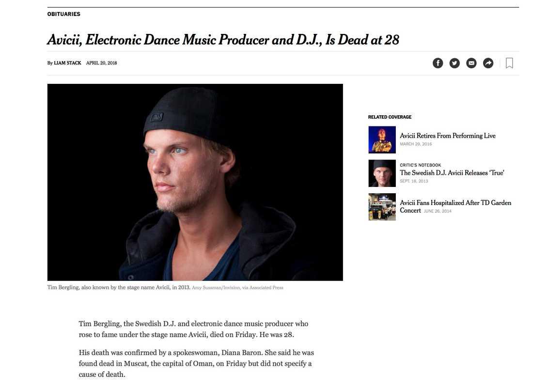 New York Times skriver om stjärnans död.