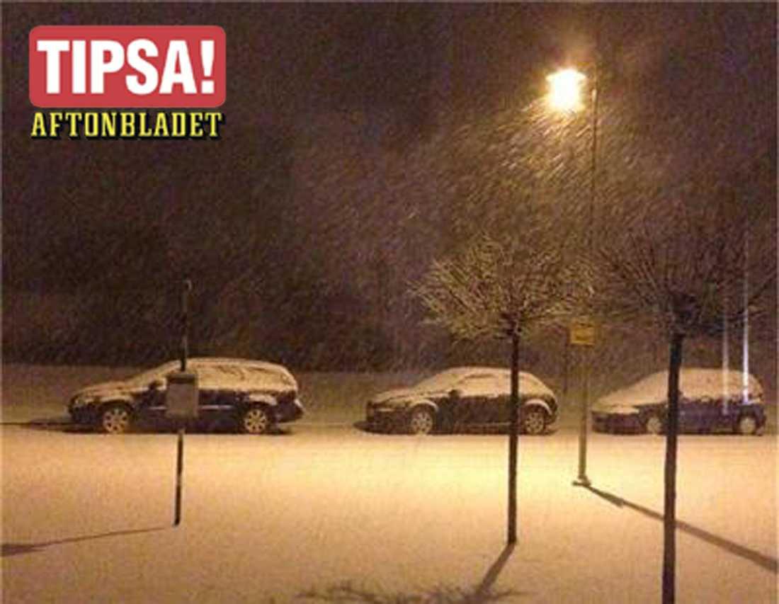Snöfall i Ystad i natt.
