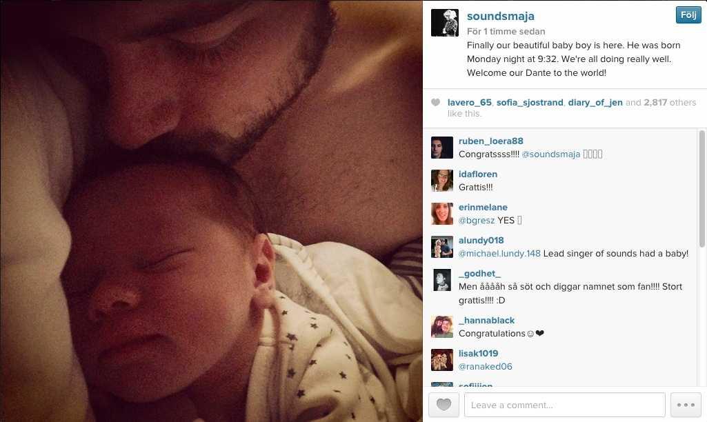 Maja Ivarsson la själv upp bilden på den nyfödde Dante.