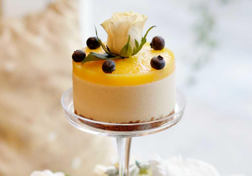 Äppel- och limecheesecake med apelsingelé