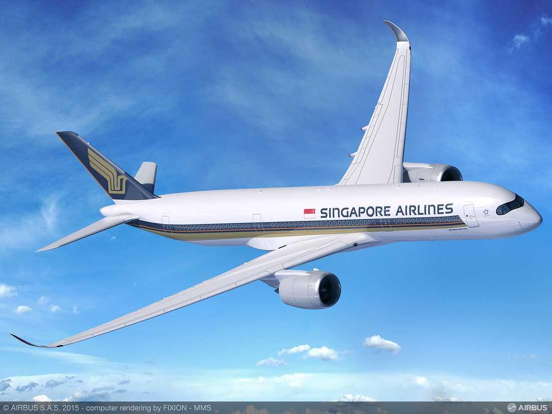 Nya Airbus A350-900 kommer att användas på flighten mellan Stockholm och Singapore
