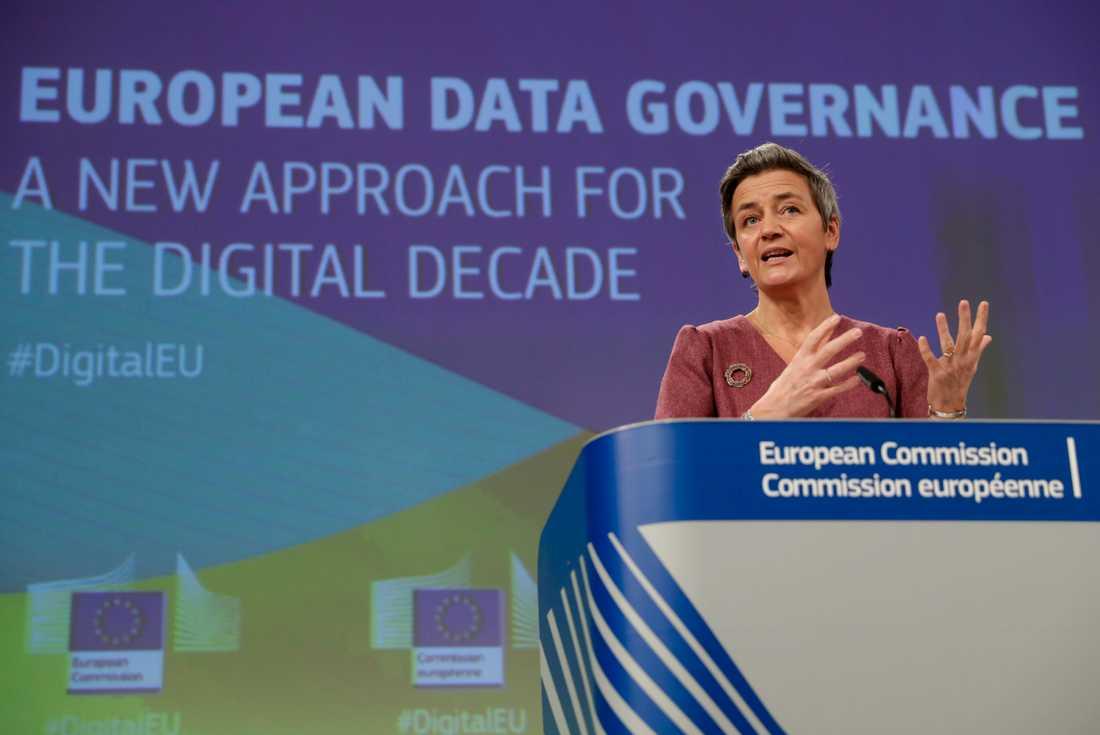 EU-kommissionens vice ordförande Margrethe Vestager presenterade på tisdagen förslag på en rad nya lagar som ska reglera digitala tjänster inom EU. Arkivbild.