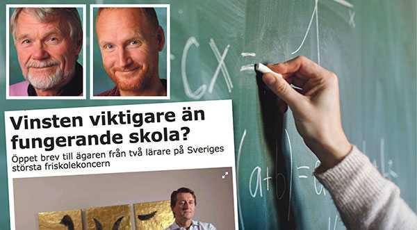 Efter att ha skrivit flera debattartiklar där vi uttalat kritik mot att skolor ska drivas av aktiebolag och riskkapitalbolag har vi nu blivit avstängda från våra jobb som lärare på en av Academedias skolor, skriver Göran Drougge och Magnus Ekblom.