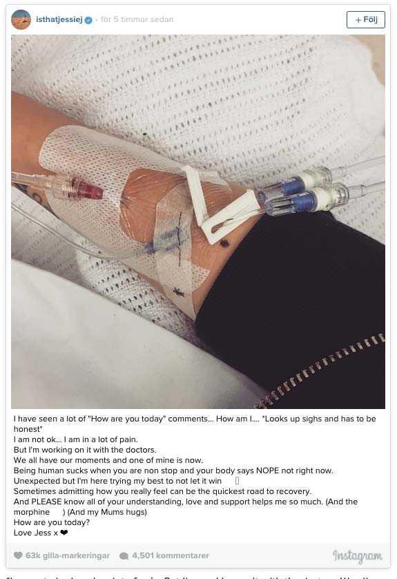 På sitt Instagram-konto har Jessie J postat en rad meddelanden och bilder från sjuksängen.