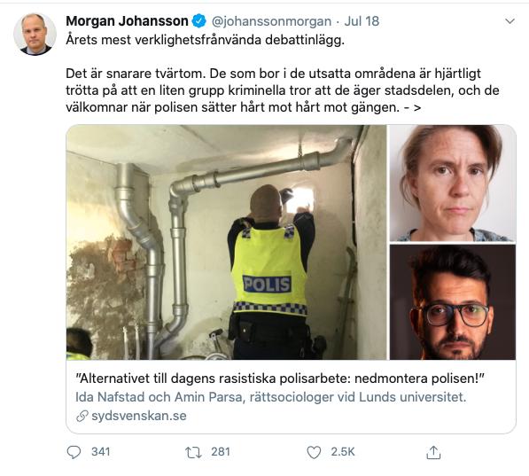 Justitieminister Morgan Johansson twittrade hård kritik.