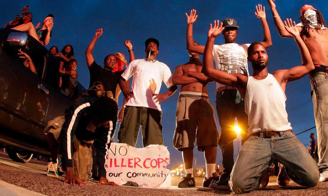 Söndagens fredliga protest mot dödsskjutningen av Michael Brown urartade i St. Louis-förorten Ferguson.