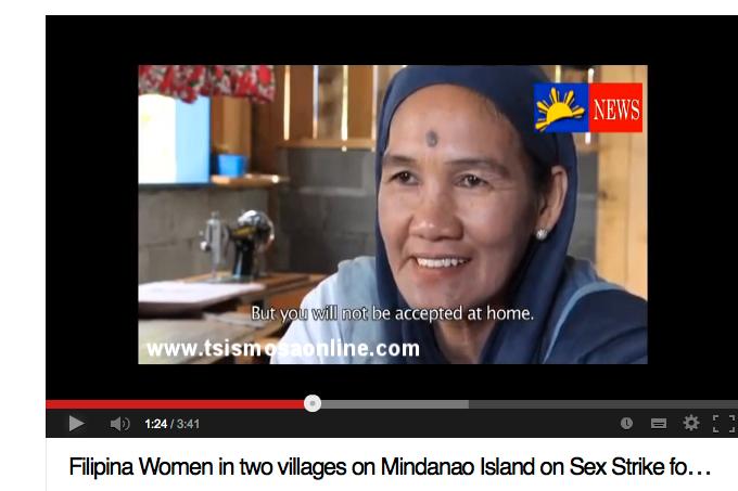 Filippinerna, 2011 På den filippinska ön Mindanao, tröttnade lokala kvinnor på striderna mellan män från två närliggande byar. Det var inte bara en fråga om säkerhet utan också om familjernas levebröd. Den ena vägen mellan de två städerna var stängd, vilket gjorde det svårt för kvinnor att ta sig över och sälja produkter och det försämrade deras möjligheter att försörja sina familjer. Kvinnorna sa åt sina män att de inte var välkomna i sovrummet. Strejken anses vara en av de viktigaste faktorerna till att striderna löstes upp.