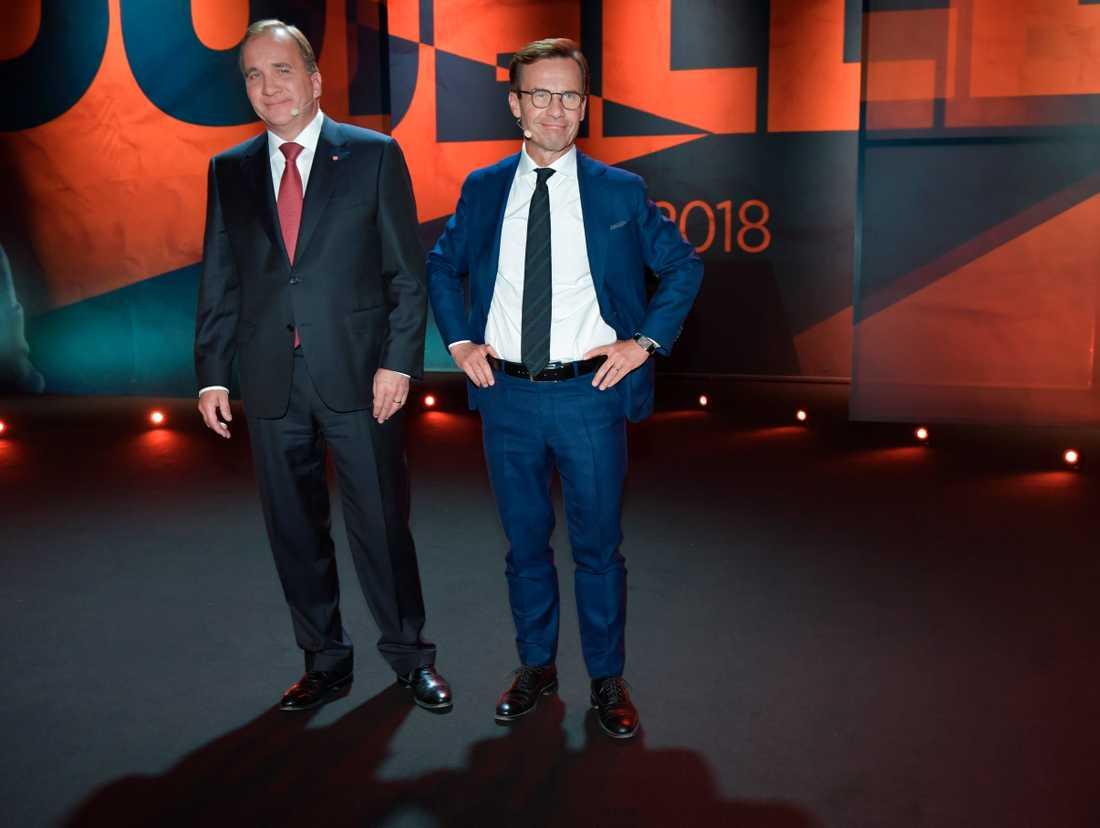 Stefan Löfven och Ulf Kristersson under TV4:s statsministerduell innan valet. Arkivbild.