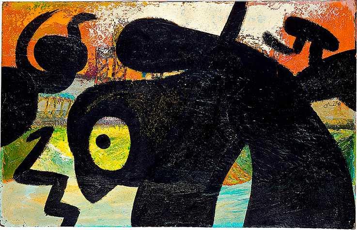 "Joan Miró: ""Figure, birds"", 1973. Olja på duk."