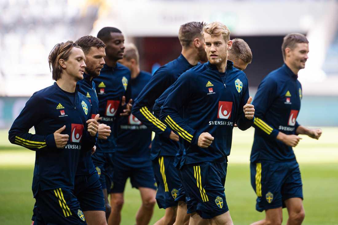 Sebastian Andersson på sista träningen inför matchen mot Frankrike.