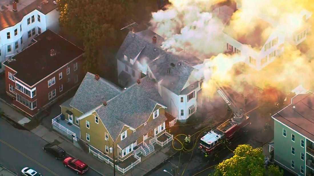 Så många som 70 explosioner och bränder har bekräftats av polisen i Massachusetts.
